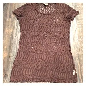 Brown sheer layering shirt